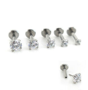 18G 16G Push Pin Cartilage 2-4mm CZ Nose Ring Earrings Threadless Helix Rings
