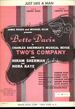 "TWO'S COMPANY Broadway Show Sheet Music ""Just Like A Man"" Bette Davis 1956"