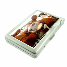 Funny Face Animals D11 Cigarette Case with Built in Lighter Metal Wallet Cows