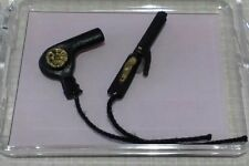 Dollhouse Miniature Hair Dryer & Curling Iron Black Set pretend cords1:12