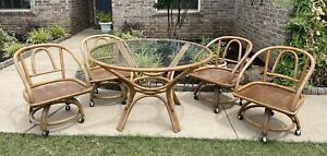 Vintage Boho Bamboo Rattan Round Glass Top Dining Table and Rolling Chairs Set