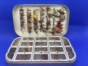 Vintage Hardy Bros Aluminium Fly Box Transparent Spring Lids + 75 Flies