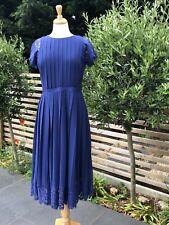 Designer Paul Smith Women  Blue Pleated Lace Dress Size 44/UK12 BNWT RRP £350
