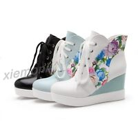 Women PLatform Hidden Wedge Lace Up Floral Winter Ankle Boots Casual Shoes Heels