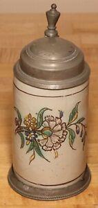 Floral Faience - Walzenkrug Österreich - 1/2 liter beer stein antique c 1800