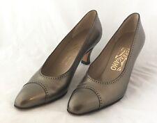 Vtg Ferragamo Boutique Brown Bronze Cap Toe Leather Shoes Sz 7 AAAA Heels