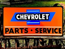 """Vintage Metal Chevy CHEVROLET SERVICE Truck Gas Oil 36"""" Hand Painted SIGN Orange"""