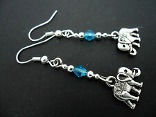 A PAIR TIBETAN SILVER DANGLY ELEPHANT & BLUE CRYSTAL  EARRINGS. NEW.