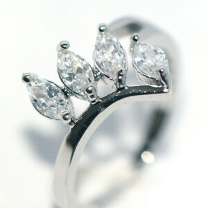 Womens Party Rings Flower Rings Silver White Gold Crystal Wedding Bridal Size 8