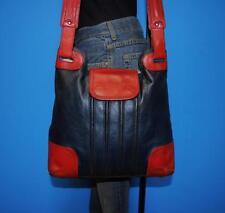 ORLA KIELY Large Red Blue Leather N/S Satchel Shopper Tote Purse Shoulder Bag