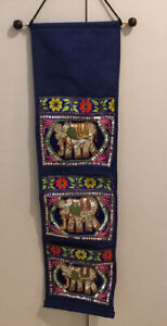 Wall Hanging Mail Holder, Sequened Elephants, Embroidered, 3 Slots, Blue