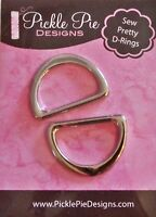 "Sew Pretty D-Rings 1"" Silver Tone for Bags & Totes"