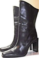 Bakers, Hacienda, Black Leather Mid Calf Boots, Side Zip, Women's Size 7.5 M