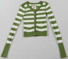 Hollister Women's L/S Button Down Green & White Striped Cardigan Sweater - XS