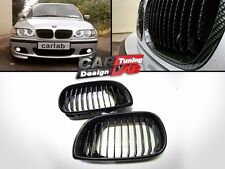 (2) Carbon Fiber look Front Hood  Grill Grille For BMW E46 4D Sedan 2002-2006