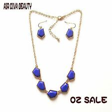 Women New Fashion Charm Geometry beads Blue Party Necklace Chain Earring set