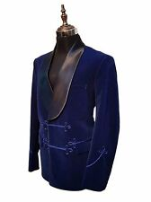 Men Elegant Luxury Stylish Designer Blue Smoking Jacket Party Wear Blazers