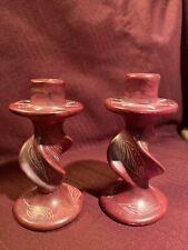 Pink/Rose Colored Ceramic Candle Sticks.Twisted design.Vintage