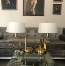 2 NEW Ralph Lauren Signature Swing Arm Brass Table Lamps Weighted Base W/ Shades