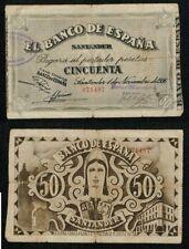 Banco de España SANTANDER. 50 Pesetas año 1936. ESCASO BILLETE. Nº 071497.