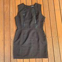 Caroline Morgan Size 14 Black Shift Dress Lace Pattern Faux Leather Cocktail