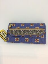 "Maggi B Denim Blue Wallet on Rope  / 18"" Strap Quilted Cotton French Country NEW"