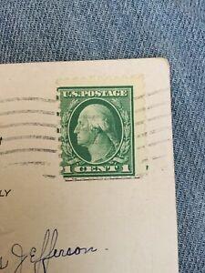 1915 US 1 Cent Stamp George Washington Off Center On Postcard Used