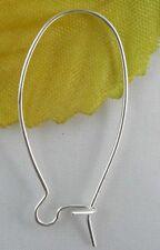 50 Pcs Silver Plated Kidney Earring Wire Earwire 24x11mm  (Lead-free)