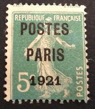 timbre PREOS, n°26, 5c vert paris 1921, Obl, CN, cote 80e signe Calves