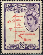 St.Christopher Nevis Anguilla British Caribian Islands Colonial Map stamp 1956