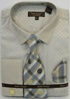 Men's Dress Shirt Tie Hanky Set Beige French Cuff With Cuff Links Cotton Blend