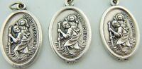 "1"" Saint St Christopher LOT 3 Catholic Medal Silver Gild Patron OF Travel"