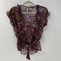 American Eagle outfitters sheer floral print blouse sz XS