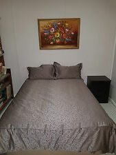 Queen Jacquard Silver Leaf Bed Spread Quilt Cover Set