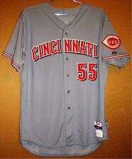 Cincinnati Reds Mat Latos 2014 Game Worn Gray Button-Down Mlb Jersey