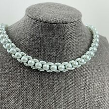 Vtg Beaded Necklace Germany faux Pearl light Blue tint Collar