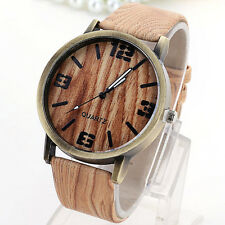 Herren Damen Armbanduhr Quarzuhr Lederband Watch Sportuhr Holz-Design PD