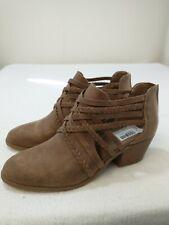 Fergalicious Women's Comfort Shoes Booties Sz 8.5 Brown Vegan Leather Back Zip
