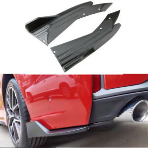 2pcs Carbon Look Rear Bumper Lip Spoiler Splitter Valance Auto Car Accessories