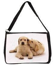 Yellow Labrador Dogs Large Black Laptop Shoulder Bag School/College, AD-L51SB