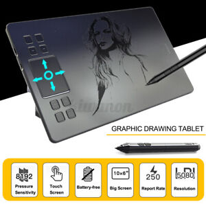 "10x6"" Large Screen Graphics Drawing Tablet USB Board Quick Reading Pad W/ Pen"