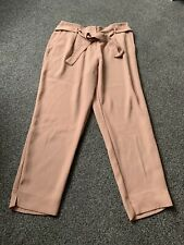 River Island Ladies Size 14 Trousers Nude Beige Brown Smart Casual Cigarette