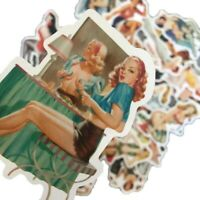 50 x Pin-up Girl Stickers, Vintage Retro Women Sexy Beauty Pinup - UK SELLER