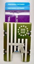3% American Flag with Gun,  Aluminum Wallet/Card Holder, RFID Protection, Green