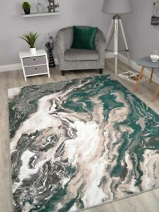 Modern Abstract Rugs Emerald Green Marble Small Extra Large Soft Floor Carpets