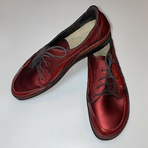 NAOT Leather Lace Up Oxfords Shoes Red Burgundy Patent Women's Size 42 - US11