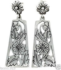 Silver Floral Flower Earrings Mexico Molina Taxco Mexican 925 Sterling