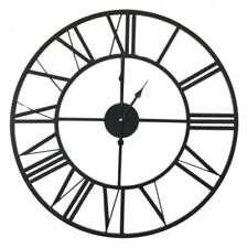 New Large  Black Iron Metal Wall Clock French Provincial Style 60cm Gift
