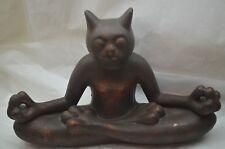 YOGA CAT FIGURINE KITTY LOTUS POSITION LARGE 14in MEDITATION STATUE FIGURE d e