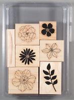 Stampin Up Secret Garden Set of Wood Mount Rubber Stamps - 2 Step Flowers